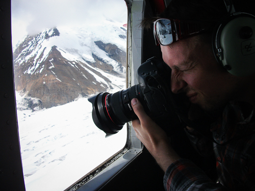 Chris photographing the Kahiltna Glacier from a plane