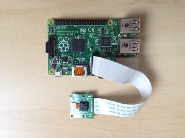 Raspberry Pi with camera module attached